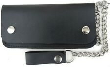 NEW QUALITY LEATHER TRIFOLD CHAIN WALLET BIKER