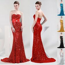 Strapless Sequins Mermaid Ball Gown Evening Bridesmaid Cocktail Prom Party Dress
