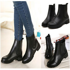 Women Ladies Real Leather Side Zipped Block Mid Heel Ankle Boots Shoes Plus Size