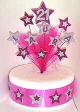 Star and Feathers Birthday Cake Topper Any Name & Age 18th 21st 40th 50th 60th +