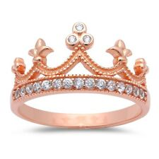 Rose Gold Plated Cubic Zirconia Crown .925 Sterling Silver Ring Sizes 4-11