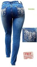 Women's PLUS SIZE HIGH WAIST DARK BLUE Stretch Denim JEANS PANTS SKINNY 3M038MS