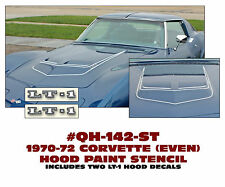 QH-142-ST 1970-72 CORVETTE - HOOD PAINT STENCIL KIT - EVEN STRIPES - LT-1 DECAL