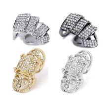 Punk Rock Full Crystal Rhinestone   Cage Hinged Shield Long Full Finger Ring