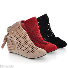 Womens Flats Ankle booties Summer Boots Ladies laser cut Shoes 8 7 6 5 4 3 2 1
