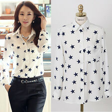 Plus Size Women Ladies Button Down Long Sleeve Shirt Loose Casual Tops Blouse
