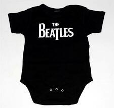 BEATLES Pop Rock Band NAME LOGO Baby Infant Toddler BLACK ONESIE BODYSUIT New