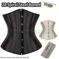 28 Spiral Steel Boned Tight Lacing Buckle-up Waist Trainer Corset Bustier Basque