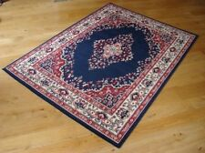 Traditional 112B Navy Blue Budget KESHAN Rug in various sizes and runner