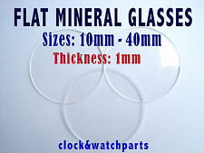 WATCH GLASS CRYSTAL  LENS FACE, FLAT with SMALL BEVEL, PREMIUM QUALITY, 10-38mm