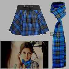 Ladies Women Full Circular Tartan Mini Bow Skirt With Matching Scarf