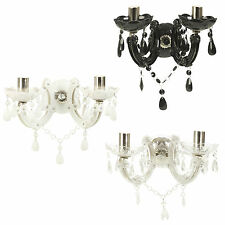 Traditional Two Arm Wall Light Lamp Light Shade Fixture Fittings Acrylic Droplet