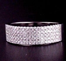 Womens Solid 925 Sterling Silver CZ Micro Pave Setting Wedding Band Ring 6mm