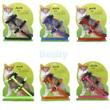Dog Puppy Cat Kitten Adjustable Nylon Lead and Harness Set Walking Collar Strap