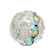 Wholesale Silver Plated Rondelle Ball Beads With Clear AB Color Rhinestone