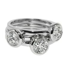 Casual Layered 3 Ring Bezel Set Stackable Style Cubic Zirconia Band Rings Bridal