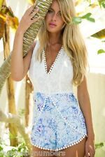 NWT Angel Biba Blue Paisley White Crochet Lace Playsuit Shortsuit 6 8 10 - SALE!