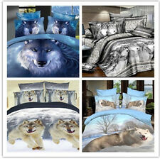 grey blue white wolf animal Cotton queen Size Duvet quilt / Cover bedding Sets