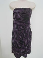 BANANA REPUBLIC Women's Purple Patterned Strapless Dress Size Large NWT