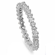 ROUND & PRINCESS RUSSIAN CZ ETERNITY BAND .925 Sterling Silver Ring Sizes 4-10