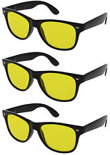3 PAIRS HD NIGHT or DAY TIME BLUE BLOCKER Sunglasses Driving glasses Yellow Lens
