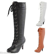 Summer Womens Lace Up High Heels Ladies Victorian Shoes casual Combat Boots Size
