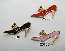 #2618 LADY HIGH HEEL SHOE,FASHION LADY,BUTTERFLY APPLIQUE PATCH