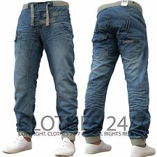 New Mens Enzo Designer Branded Light Cuffed Jogger Jeans Pants All Waist & Sizes