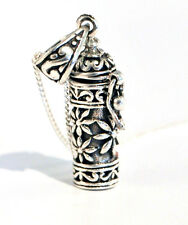 925 Sterling Silver Prayer Box Locket Pendant and Chain Necklace