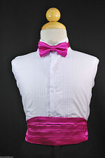 Baby & Boys Fuchsia Cummerbund + Bow Tie set for Tuxedo Suit sz S M L XL - 22 28