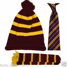 Unisex Harry Potter Maroon and Yellow Winter Scarf Hat Tie Fancy Dress Outfit