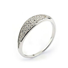 925 Sterling Silver Micro Paved CZ Flat shape Band Ring Wedding Crystal ONLY U