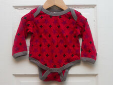 100% Organic Cotton Lapstyle Baby Bodysuit - Red Stars, Long-Sleeve