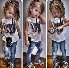 2Pcs-New 2015 summer baby girls t shirt+Jeans children top clothing set 2-6Y