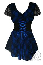 Plus Size Gothic Blue Black Sexy Lace Sweetheart Corset Top 1X 2X 3X 4X 5X