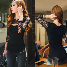 New Woman Lace Sexy Long Sleeve T-Shirt Deep Neck Slim Fit Bodycon Black Top