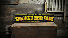 Custom Smoked BBQ Ribs Sign - Rustic Hand Made Distressed Wood ENS1000788