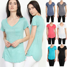 TheMogan V-neck Loose Fit Jersey Boyfriend T-shirts With Pocket Short Sleeve Tee