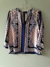 Fun2Fun Scarf Print roll Tab Blouse Pale Pink  Assorted Sizes Retailed @ $59.00!