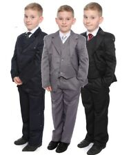 Boys Formal Suit Black Grey Navy 5 pieces  Age 1-15 Years Wedding Christening