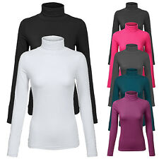 Womens Turtleneck Long Sleeve Basic Solid Fitted Shirt with Stretch