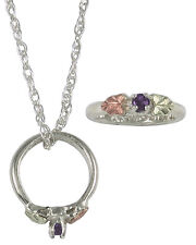 BLACK HILLS GOLD ON SILVER WOMENS CHOOSE 2MM BIRTHSTONE RING PENDANT NECKLACE