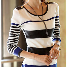 Women Striped Long sleeve Bottoming Slim Pullover Sweater T-shirts Tops Blouse Y