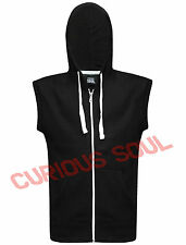 Mens Plain Zip Up Sleeveless Fleece Hoodie Sweatshirt Gillet Hoody Zipper Top