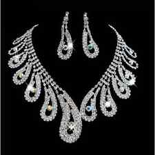 Crystal rhinestone Choker Necklace earrings Jewelry Party bridal accessories