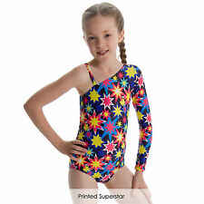 Children Dance Gear Printed Kirstie One shoulder & Long sleeved design Leotard