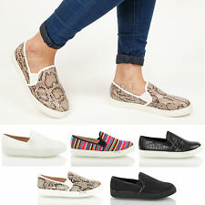 Womens ladies croc snake retro flatform platform skate slip on pumps shoes size