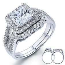 1.5 Carat Princess Created Diamond Solid 925 Sterling Silver Ring Set