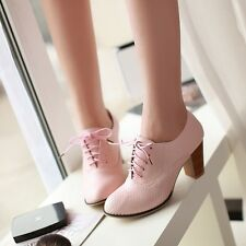 Womens Oxfords Cuban Heel Retro Boat Leather Shoes Pumps Punk Pink Boots 4-10.5