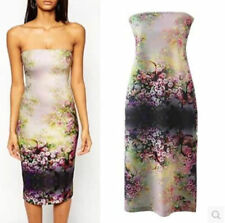 2015 Vintage Women Boho Strapless Oriental floral print Slim Bodycon dress gown